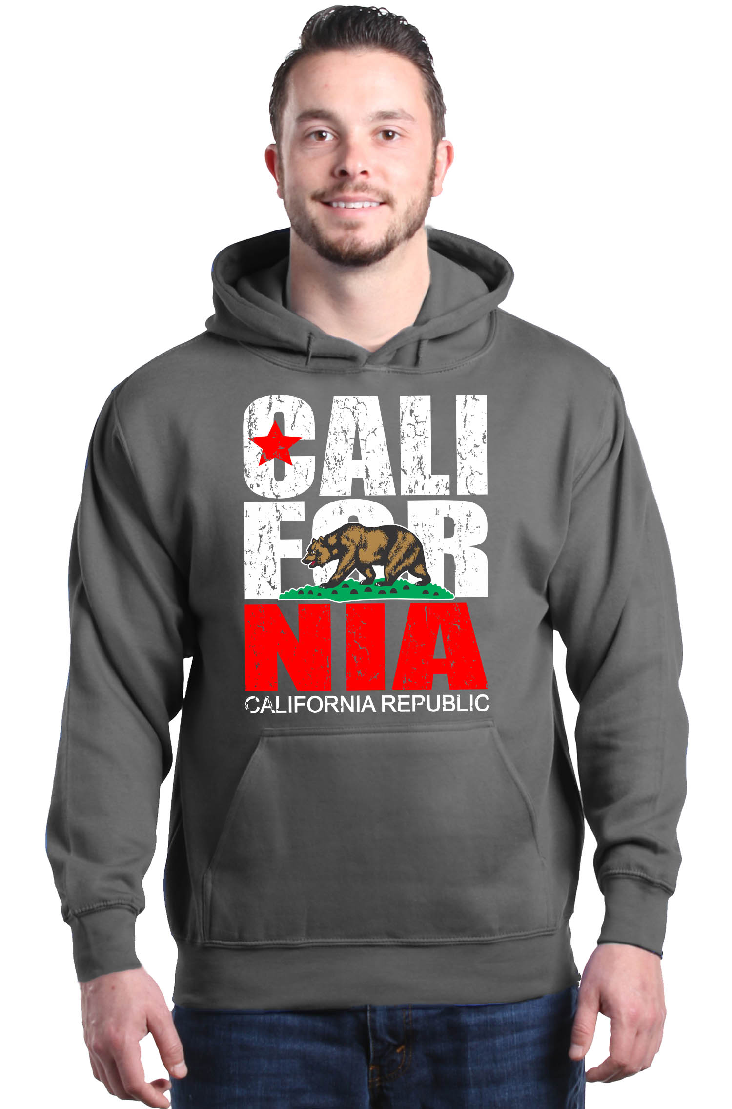 New Men/'s CALIFORNIA REPUBLIC Hoodie pullover black sweatshirt Free Shipping