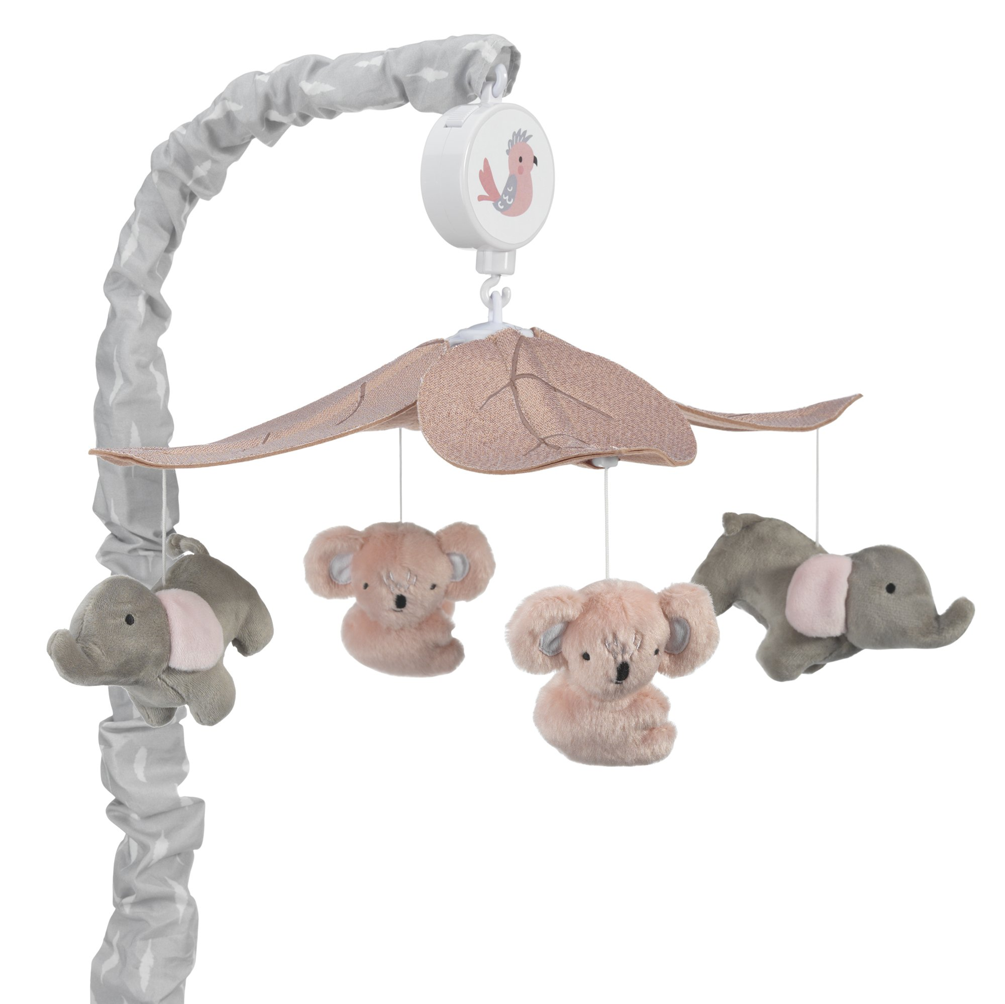 Lambs & Ivy Calypso Coral Gray Koala & Elephant Musical Baby Crib Mobile by Lambs %26 Ivy