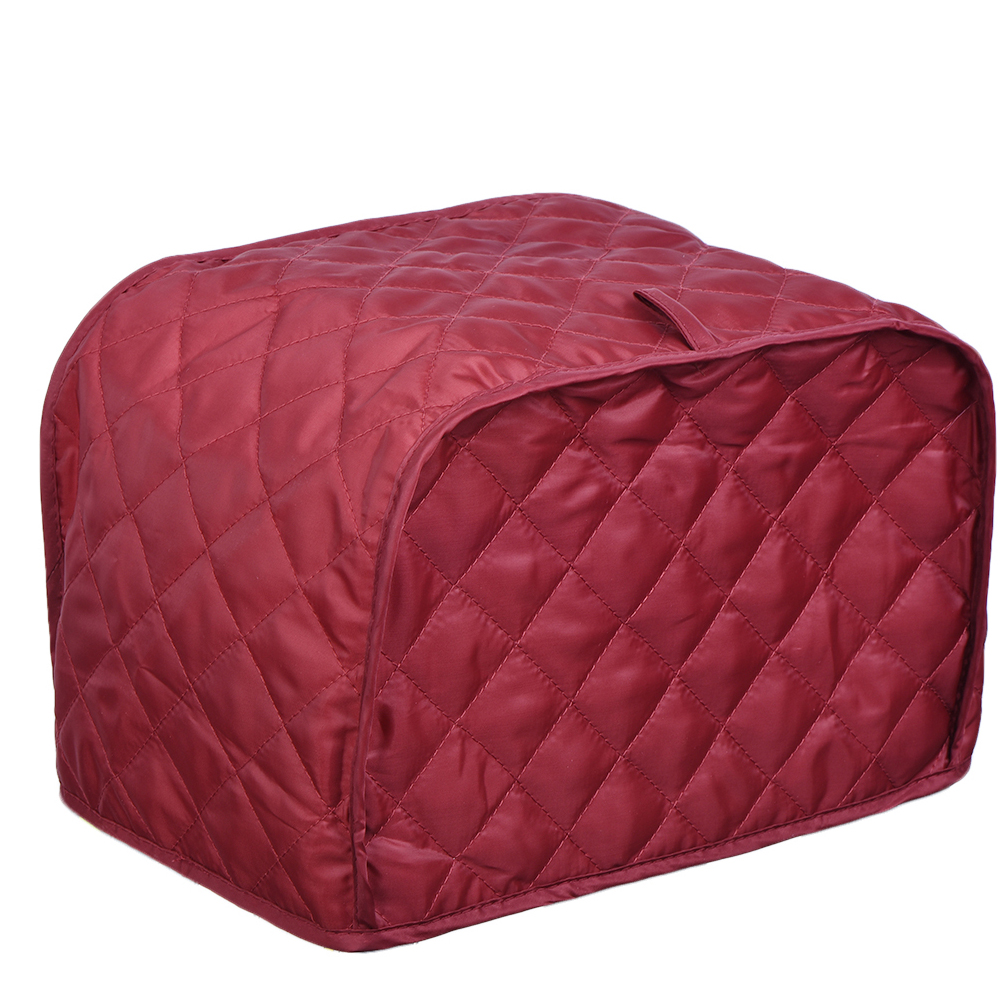 Polyester / Cotton Quilted Four Slice Toaster Appliance Cover, Bread Toaster Protector Dust and Fingerprint Protection, Machine Washable Brown