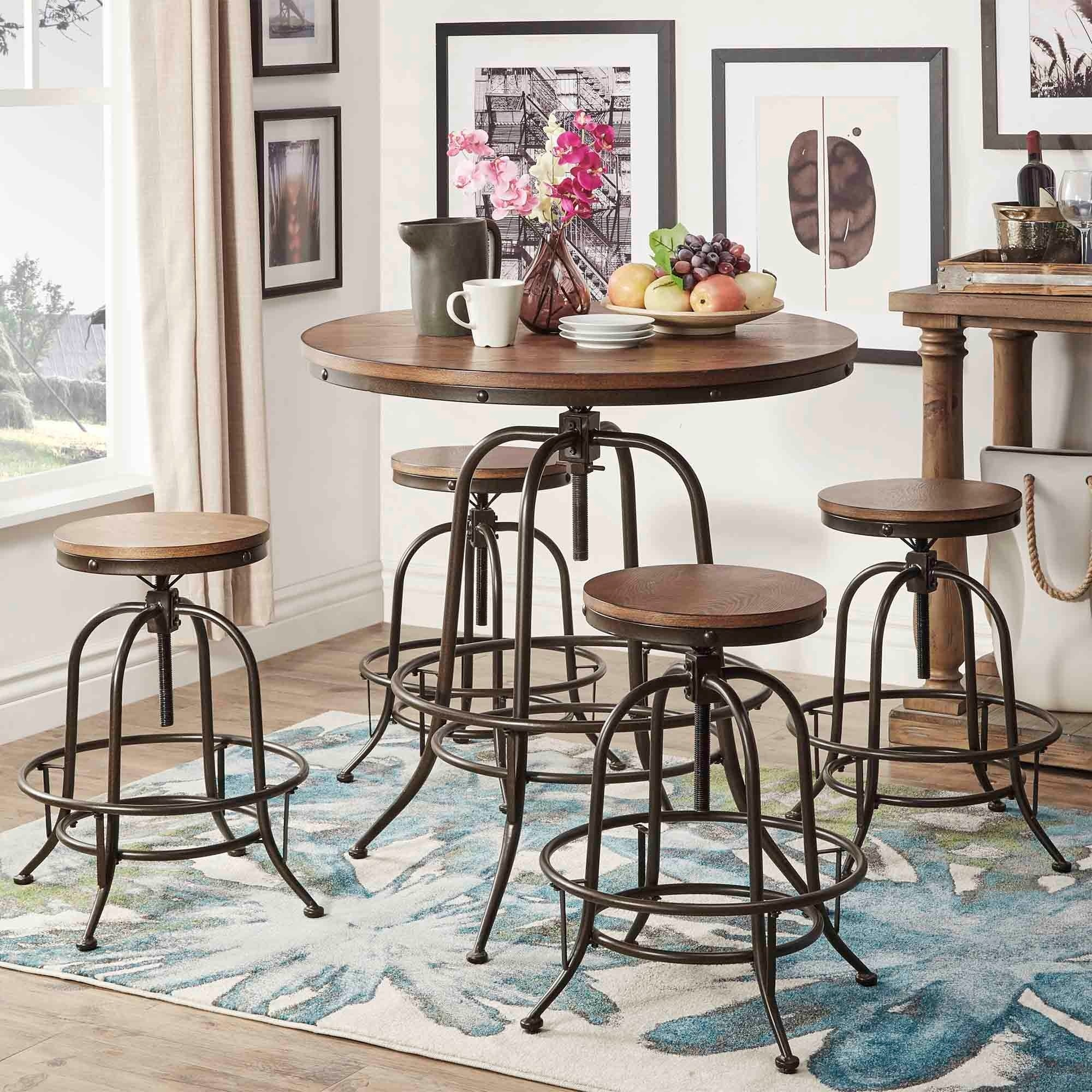 Berwick Industrial Style Round Counter Height Pub Adjustable Dining Set 1  Table With 2 Chairs