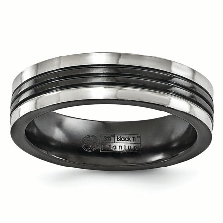 Edward Mirell Black Titanium Grey Grooves 6mm Wedding Ring Band Size 13.00 Man Classic Flat Fashion Jewelry Dad Mens Gift