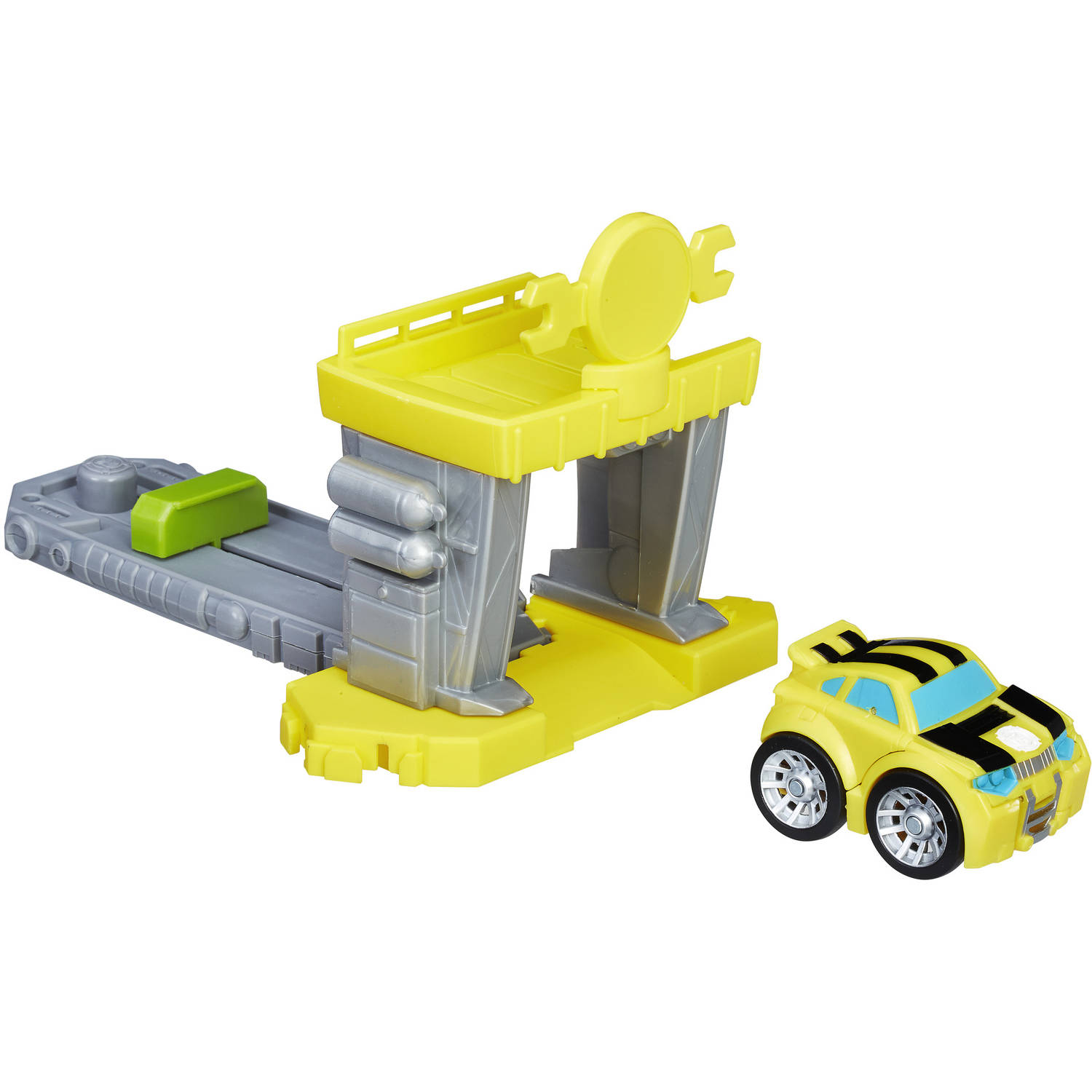 Playskool Heroes Transformers Rescue Bots Flip Racers Bumblebee Quick Launch Garage by
