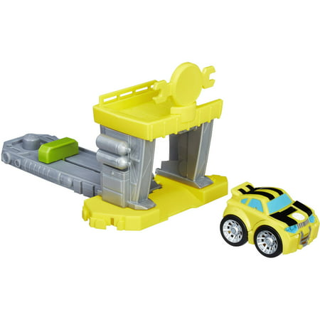 Playskool Heroes Transformers Rescue Bots Flip Racers Bumblebee Quick Launch Garage (Rescue Bots Party Supplies)