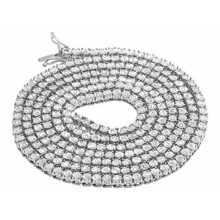 - White Gold Finish 1 Row Real Diamond Necklace 18 Ins (1.25 Ct)