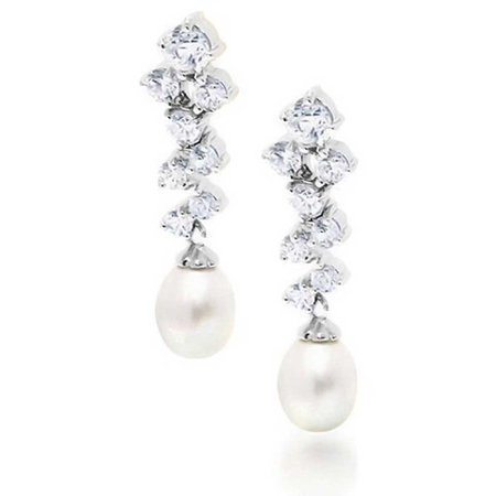 Bridal Cluster CZ White Freshwater Cultured Pearl Dangle Earrings For Women For Prom 925 Sterling Silver