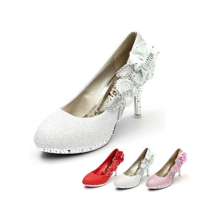 Angelina Bridal Shoes - Meigar Women Crystal High Heels Wedding Bridal Dancing Party Shoes