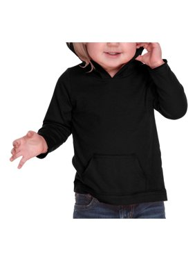 Kavio IJP0629 Unisex Infants Jersey RawEdge High Low Long Sleeve Hoodie w.Pouch-Black-18M