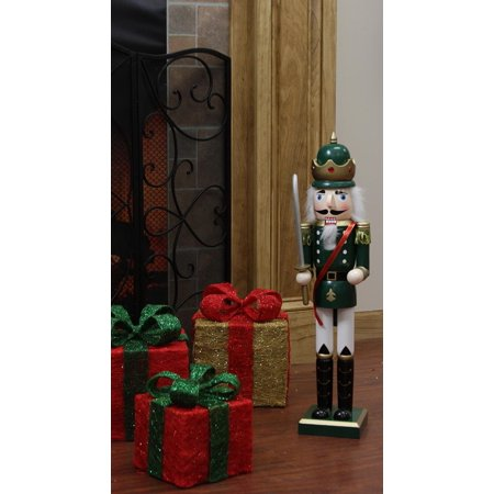 """24"""" Decorative Green King Wooden Christmas Nutcracker with Sword"""