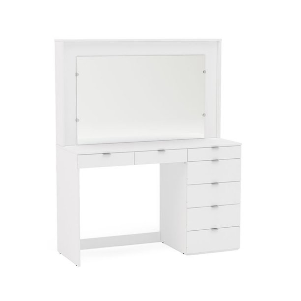 Boahaus Joan Modern Vanity Table with Mirror and 3 Drawers, White finish