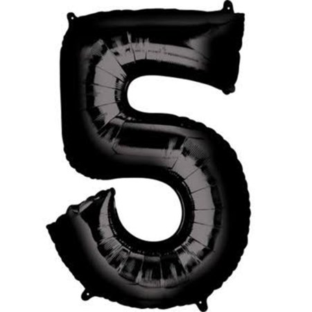 Giant Black Number 5 Foil Balloon 33