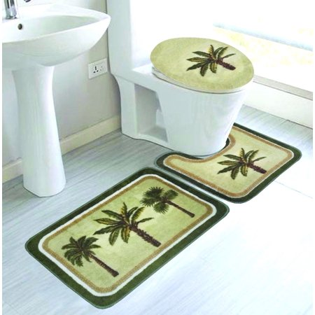 3 Pc Palm Tree Bathroom Rug Set Absorbent Non Slip Large 19