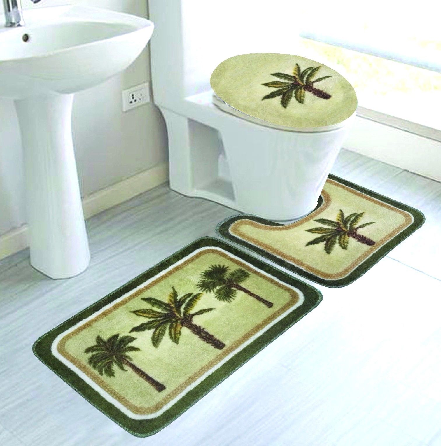 "3-PC PALM TREE Bathroom Rug Set Absorbent Non-Slip Large Rug 19""x30"", Contour Rug 19""x19"" and Toilet Seat Lid Cover 19""x19"" with Non-Skid Rubber back"