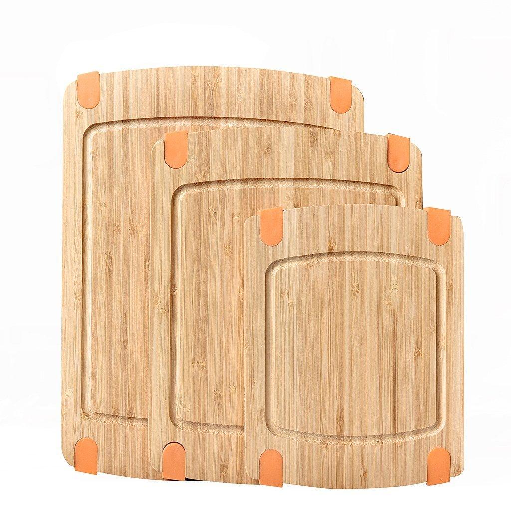WELLAND 3-Piece Bamboo Cutting Board Set Slip-resistant