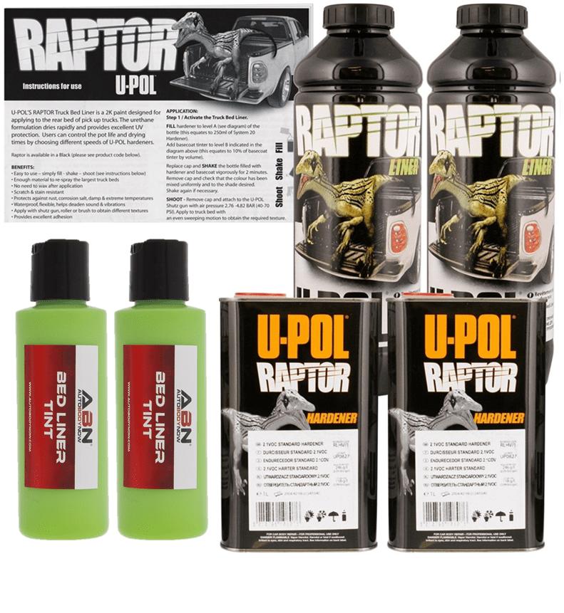 U-POL Raptor Tintable Lime Green Bed Liner & Texture, 2 Liters Upol