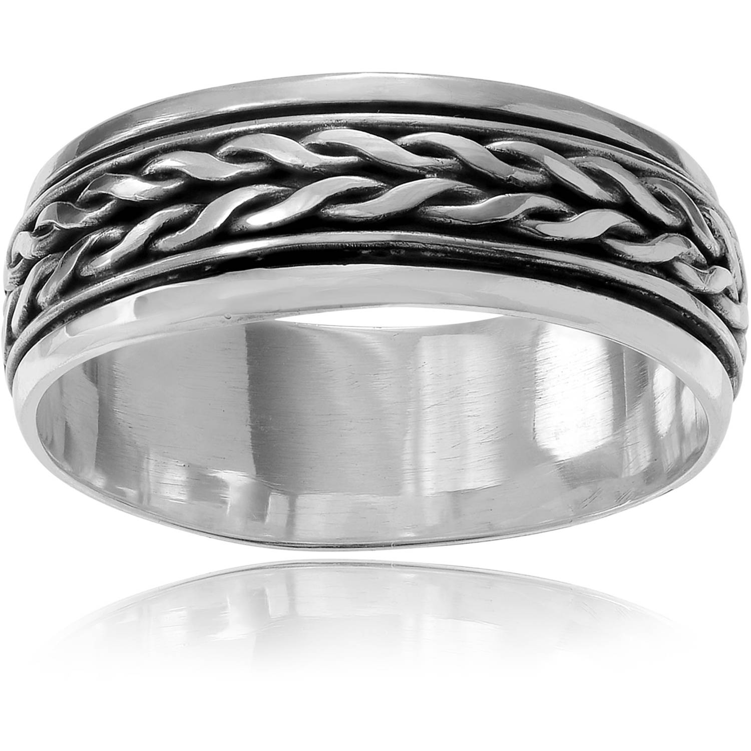 Brinley Co. Women's Sterling Silver Braided Spinner Band Fashion Ring