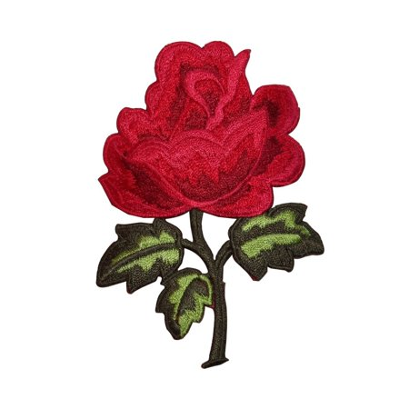 ID 6682 Red Rose Stem Patch Flower Blossom Plant Embroidered Iron On - Embroidered Roses