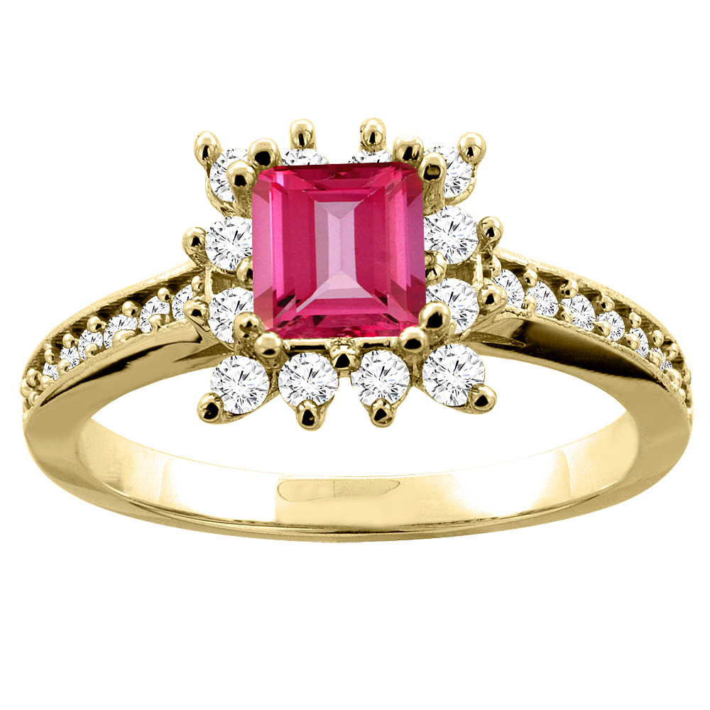 10K Yellow Gold Natural Pink Topaz Engagement Ring Diamond Accents Square 5mm, size 5.5 by Gabriella Gold