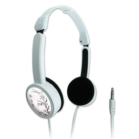Cherry Headphone - Cherry Blossom Tree Pink Japanese Novelty Travel Portable On-Ear Foldable Headphones