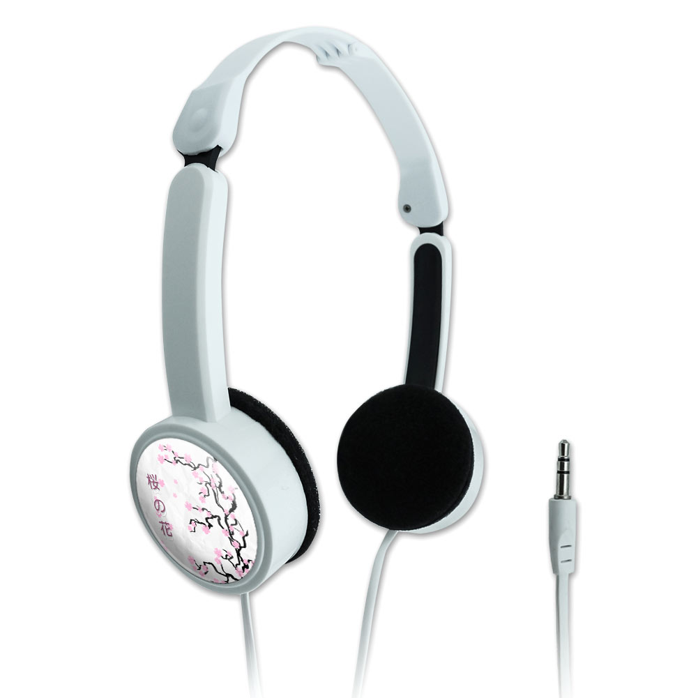 Cherry Blossom Tree Pink Japanese Novelty Travel Portable On-Ear Foldable Headphones