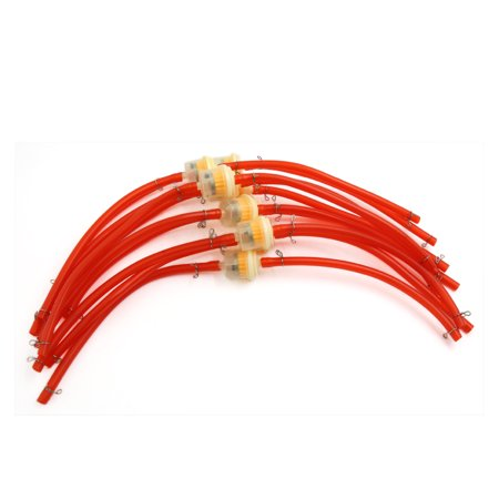 Motorcycle Red Plastic Petrol Hose Pipe Tube Orange Oil Fuel Filter 10Pc