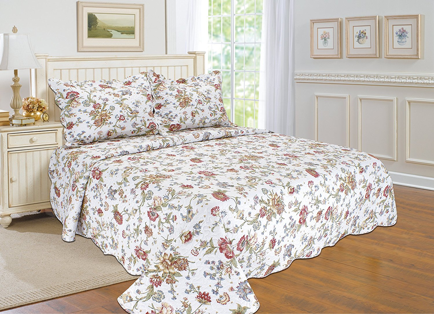 All for You 2pc Reversible Quilt Set, Bedspread, and Coverlet with Flower Prints-3... by All For You Home