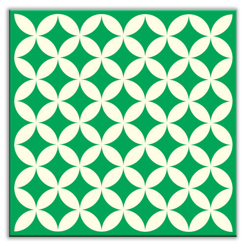 Oscar & Izzy Folksy Love 6'' x 6'' Glossy Decorative Tile in Needle Point Green
