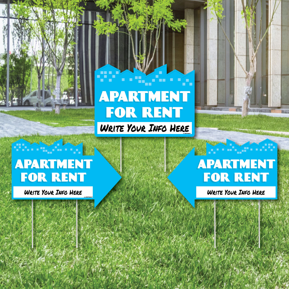 Big Dot of Happiness Apartment for Rent - Yard Sign with Stakes - Double Sided Outdoor Lawn Sign - Set of 3