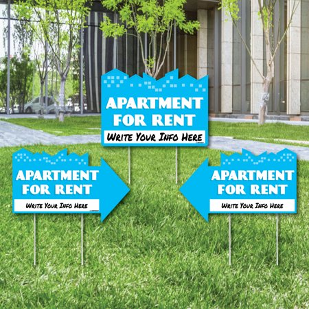 Apartment For Rent   Yard Sign With Stakes   Double Sided Outdoor Lawn Sign   Set Of 3