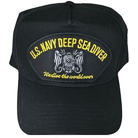 Navy Deep Sea Diver - USN NAVY DEEP SEA DIVER WE DIVE THE WORLD OVER BLACK HAT W/ MASTER DIVER BADGE