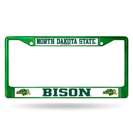 North Dakota State NDSU Bison NCAA Green Painted Chrome Metal License Frame ()
