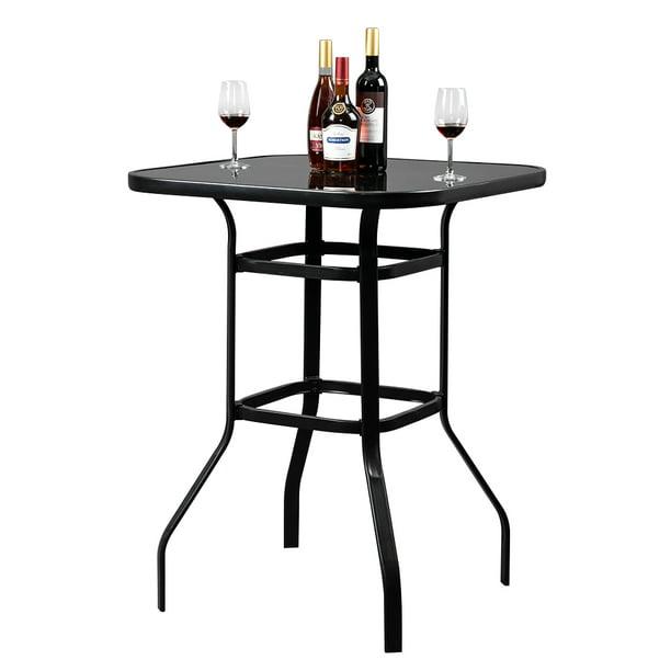 Veryke Patio Bar Table Height, Outdoor Bar Height Glass Top Table