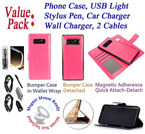 "Value Pack Cables + for 6.3"" Samsung Note 8 note8 Case Wallet Phone Case Tortilla Wrap Detachable Bumper Stand Pouch Purse Screen Flip Cover Pink"
