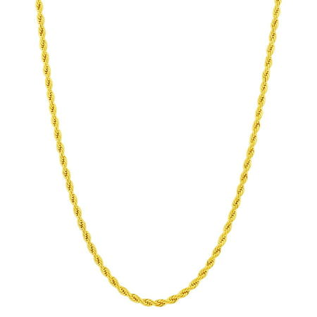 Gem Avenue Men's Stainless Steel Gold Plated 3mm Diamond-cut Rope 18