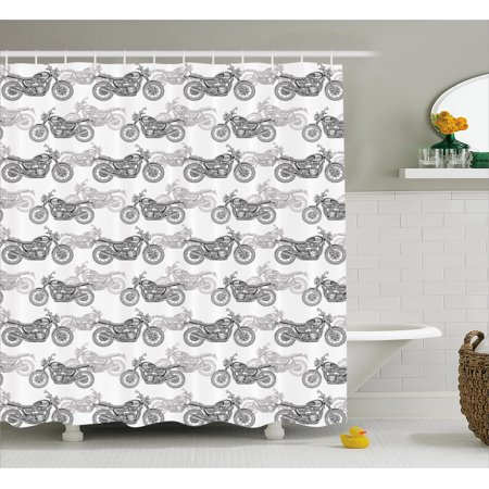 Motorcycle Shower Curtain Realistic Grayscale Illustration Of Classic Motorcycles With Many Details Fabric Bathroom