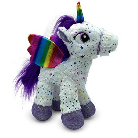 LittleFoot Nation Bright & Shiny 13 Big Plush Sparkle Standing Unicorn Toy, Soft Rainbow Pegasus Alicorn Stuffed Animal with Wings for Kids (White) - image 1 de 1