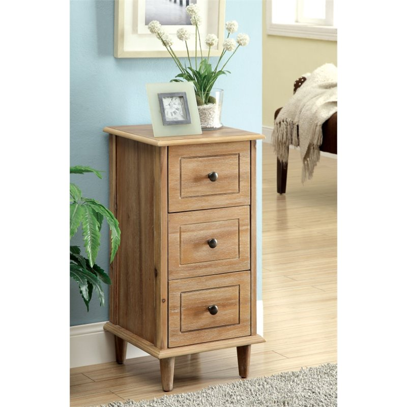 Furniture of America Zimmer 3 Drawer End Table in Natural Wood