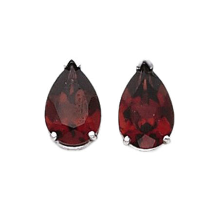 14K White Gold Pear Shape Garnet Stud Earrings