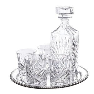 6-Piece Dublin Whiskey Drinkware Barware Drink Set with 4 Double Old Fashioned Glasses, Silver-Plated Round Mirror Tray and Star Design Square Decanter