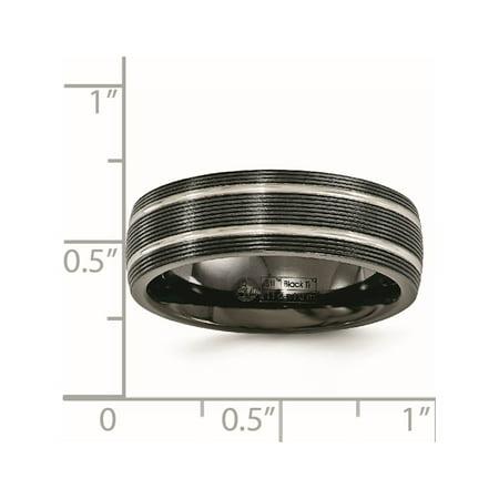 Edward Mirell Titanium Black Ti Textured Lines 7mm Band - image 4 de 6