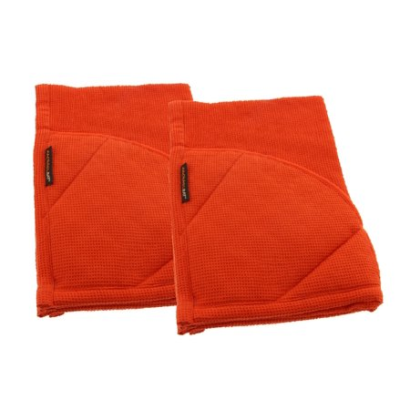 Rachael Ray Kitchen Towel and Oven Glove Moppine – A 2-in-1 Kitchen Towel with Pot-Holder Pockets - Orange / Pack of 2