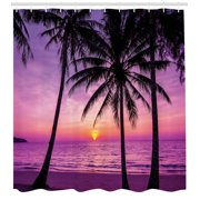 Ocean Shower Curtain, Palm Trees Silhouette at Sunset Dreamy Dusk Warm Exotic Twilight Scenery Image, Fabric Bathroom Set with Hooks, Purple Black, by Ambesonne