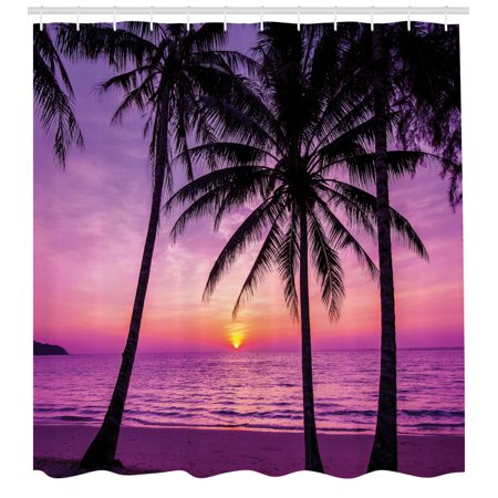 Ocean Decor Shower Curtain Set, Palm Trees Silhouette At Sunset Dreamy Dusk Warm Twilight, Bathroom Accessories, 69W X 70L Inches, By Ambesonne Twilight Shower Curtain