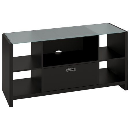 Bush Furniture kathy ireland Office Credenza/TV Stand with Glass Top in Mocha Finish ()
