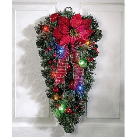 LED Christmas Poinsettia Door Swag - Christmas Office Door Decorating