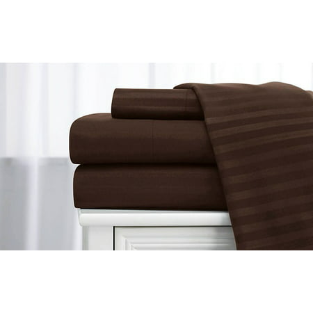 Deluxe Home 100% Cotton  400 Thread Count Dobby Stripe Sheet Set ( Full, Coffee) ()