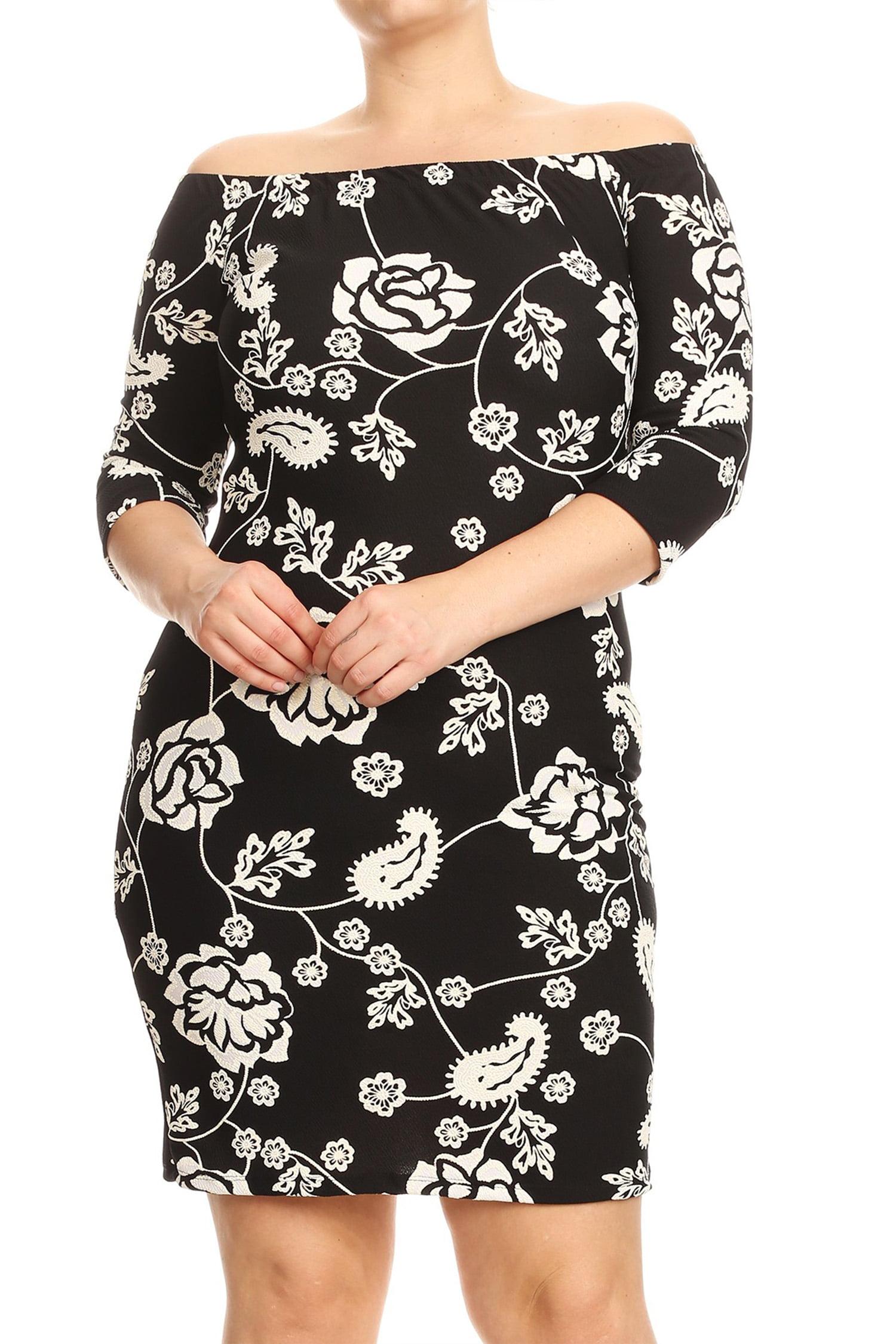 Women's Plus Size Printed Off Shoulder Dress