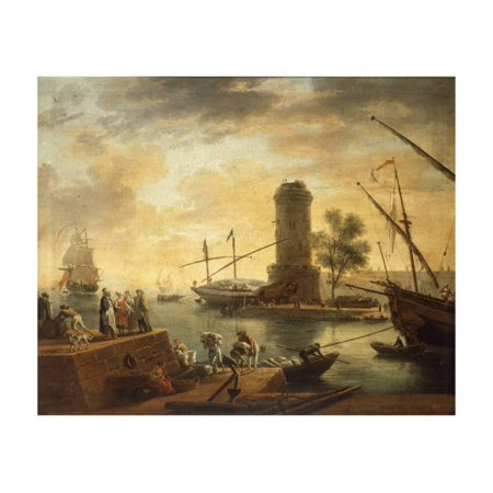 A Mediterranean Harbour Scene at Sunset Print Wall Art By Claude Joseph Vernet