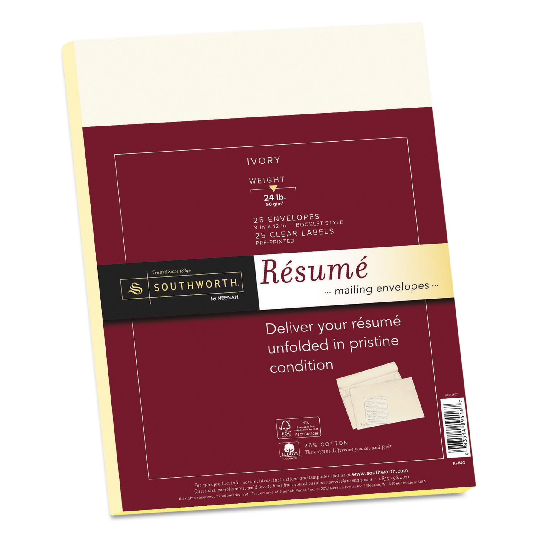 Southworth 25% Cotton Resume Envelopes, Ivory, 24lb, 9 x 12, Wove, 25/Box -SOURF4Q