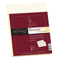 Southworth 25% Cotton Resume Envelopes, Ivory, 24lb, 9 x 12, Wove, 25/Box -SOURF4Q