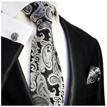 Extra Long Black and Silver Paisley Paul Malone Silk Tie with (Black Silk Extra Long Ties)